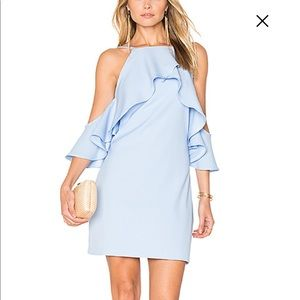 Flared Ruffle Dress in Powder Blue- Endless Rose
